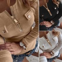 Modern Sweatshirt in Effen Kleur met Lange Mouwen Slanke Pasvorm en Ritssluiting
