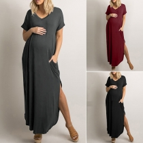Moderne Zwangerschapsjurk met Effen Kleur Korte mouwen V-hals en Split