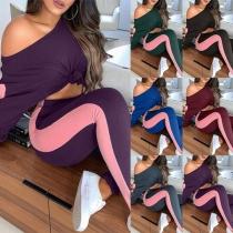 Moderne Tweedelige Set met Contrasterende Kleuren bestaande uit een Topje met Lange Mouwen + Legging