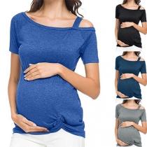 Sexy Zwangerschapsshirt met Schuine Schouders Korte Mouwen en Gedraaide Zoom