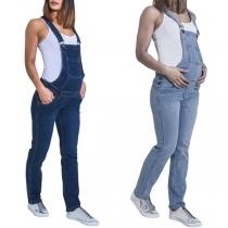 Moderne Tuinbroek van Denim voor Zwangere Vrouwen met Hoge Taille