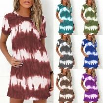 Fashion Short Sleeve Round Neck Tie-dye Printed Dress