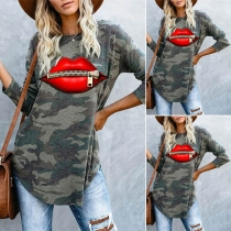 Fashion Red-lip Camouflage Printed Long Sleeve Round Neck T-shirt