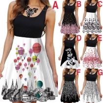 Fashion Sleeveless Round Neck Printed Spliced Dress