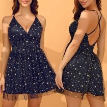 Sexy Backless V-neck Gauze Spliced Star Printed Sling Dress