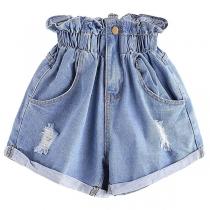 Fashion High Waist Ripped Denim Shorts