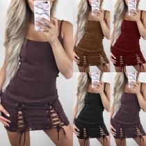 Sexy Backless Lace-up Slit Hem Slim Fit Sling Dress