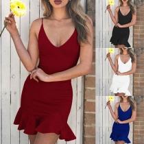 Sexy Backless V-neck Ruffle Hem Solid Color Slim Fit Sling Dress
