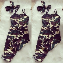 Mooie Body voor Kinderen met Vrije Rug Slanke Pasvorm Hoofdband met Camouflagepatroon en Hoge Taille