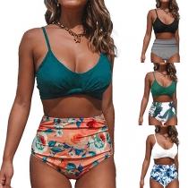 Sexy Bikiniset met Vrije Rug Chic Patroon en Hoge Taille