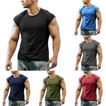 Eenvoudig Mouwloos Sport-T-shirt voor Heren met Ronde Hals