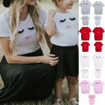 Leuk T-shirt voor Moeder en Dochter met Wimpermotief Korte Mouwen en Ronde Hals