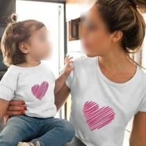 Modern T-shirt voor Moeder en Dochter met Hartmotief met Korte Mouwen en Ronde Hals