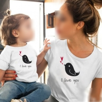 Leuk T-shirt voor Moeder en Dochter met Vogelmotief Korte Mouwen en Ronde Hals