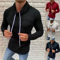Modern Sweatshirt voor Heren met Effen Kleur Lange Mouwen en col hals  Kraag