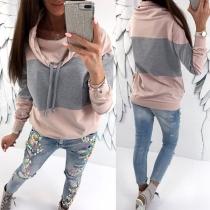 Modern Sweatshirt met Contrasterende Kleuren Lange Mouwen en Brede Kraag(De maat Valt klein uit)