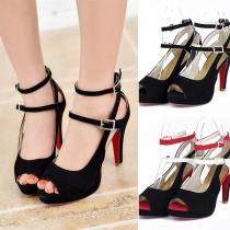 Sexy Schoenen met Hoge Hakken in Contrasterende Kleuren met Vrije Tenen