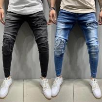 Moderne Jeans voor Heren met een Middelhoge Taille en Scheuren