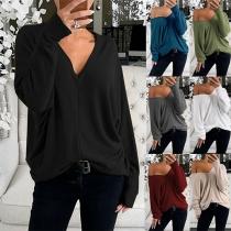 Modern Losvallend Sweatshirt met Effen Kleur Lange Mouwen en V-hals