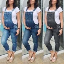 Moderne Tuinbroek van Denim voor Zwangere Vrouwen met Middelhoge Taille