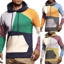Modieuze Hoodie voor Heren met Contrasterende Kleuren en Lange Mouwen