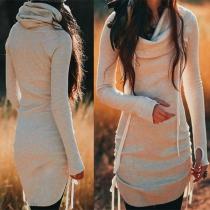 Moderne Gebreide jurk met Effen Kleur Lange Mouwen en Wijde Rolkraag