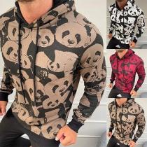 Hoodie voor Heren met een Schattig Pandapatroon en Lange Mouwen