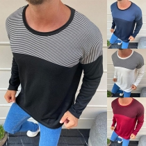 Modieus Gestreept Sweatshirt met Lange Mouwen en Ronde Hals