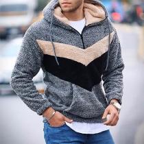 Moderne Hoodie van Pluche voor Heren met Contrasterende Kleuren en Lange Mouwen