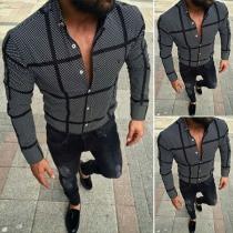 Casual Geruit Overhemd voor Heren met Lange Mouwen en Polokraag