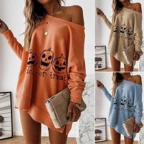 Modern Sweatshirt met Pompoenmotief Lange Mouwen en Ronde Hals