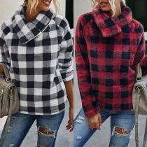 Modern Geruit Sweatshirt van Pluche met Lange Mouwen en Schuine Kraag