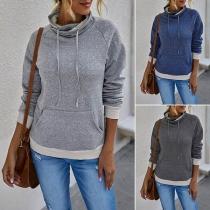 Modern Sweatshirt met Contrasterende Kleuren Lange Mouwen en Wijde Rolkraag