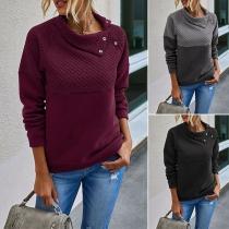 Modern Sweatshirt met Lange Mouwen Effen Kleur en Schuine Kraag