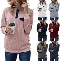 Fashion Contrast Color Long Sleeve Stand Collar Sweatshirt