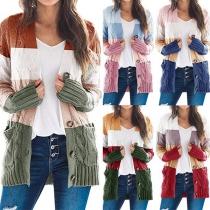 Modern Vest met V-hals in Contrasterende Kleuren met Lange Mouwen