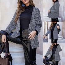 Elegant Style Long Sleeve V-neck Plaid Woolen Cardigan Coat