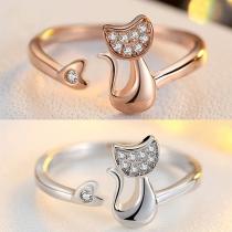Leuke Katvormige Ring met Strass