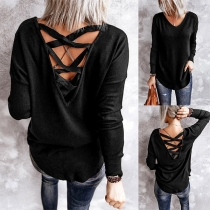 Sexy Backless V-neck Long Sleeve Solid Color Top