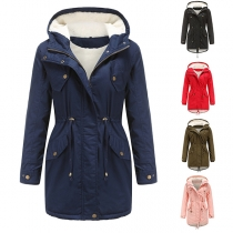 Solid Color Hooded Drawstring Plush Lining Padded Coat