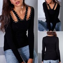 Sexy V-neck Hollow Out Pearl Long Sleeve Top