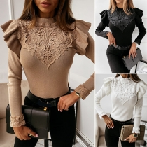Fashion Solid Color Long Sleeve Mock Neck Lace Spliced Ruffle Top
