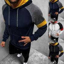 Modieuze Hoodie voor Heren in Contrasterende Kleuren met Lange Mouwen