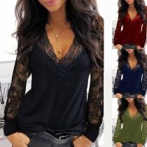 Sexy Sweatshirt met Kanten Design Lange Mouwen en V-hals