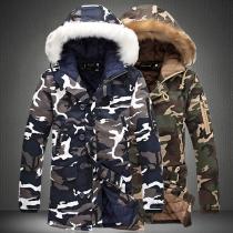 Moderne Gewatteerde Jas voor Heren met Capuchon met Kunstbont en Camouflagepatroon