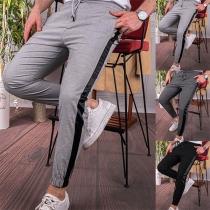 Modieuze Vrijetijdsbroek voor Heren met Contrasterende Kleuren en Elastische Taille