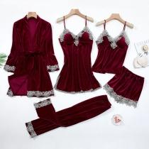 Sexy Nachtkledingset Nachtkleding met Kanten Design en Effen Kleur 5 Kledingstukken / Set