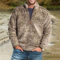 Modern Sweatshirt van Pluche voor Heren in Effen Kleur met Lange Mouwen en Opstaande Kraag