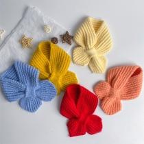 Eenvoudige Gebreide Sjaal voor Kinderen in Effen Kleur