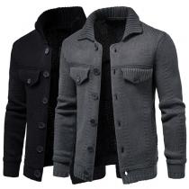 Modern Vest voor Heren in Effen Kleur met Lange Mouwen Polokraag en Single-Breasted Design